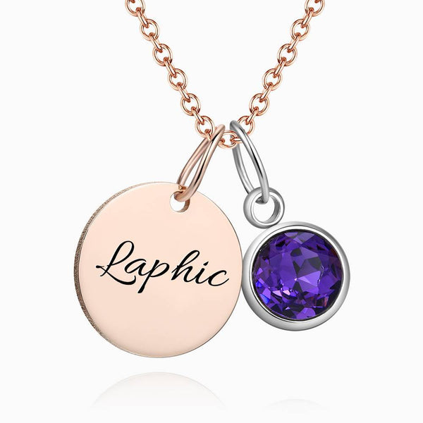 Personalized Birthstone Coin Tag Initial Necklace With Engraving Rose Gold Plated Silver