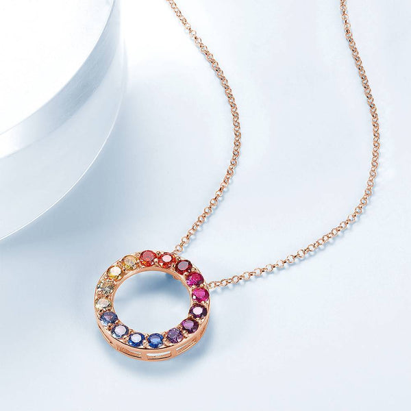 Personalized Exquisite Sparkling Round Necklace Copper in Rose Gold