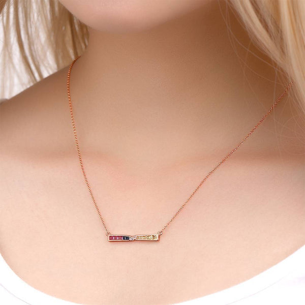 Personalized Exquisite Sparkling Colorful Hourglass Necklace Copper in Rose Gold
