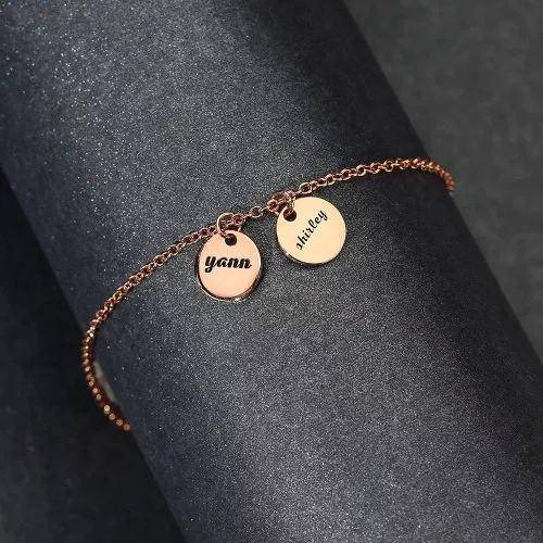 Custom Disc Engraved Anklet Rose Gold