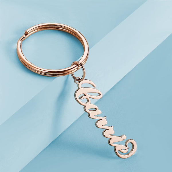 Custom Name Keychain Anti-lost Keyring Rose Gold Plated