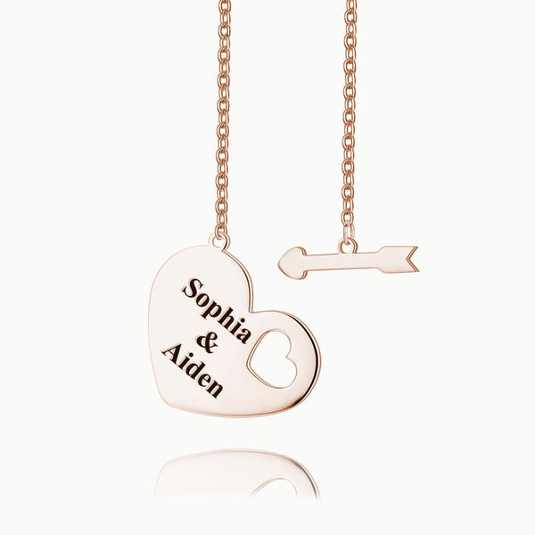 Engraved Hang Tag Necklace Rose Gold Plated Silver