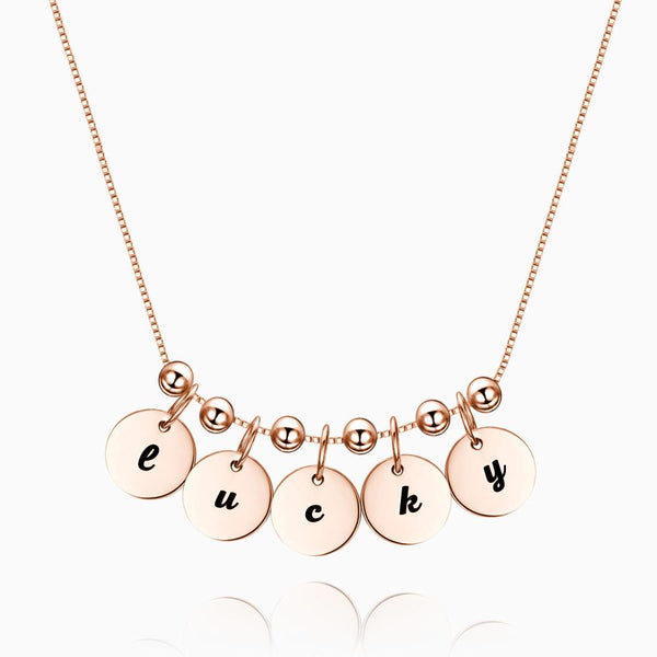 Engraved Initial Necklace Rose Gold Plated Silver
