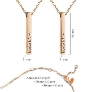 Vertical 3D Bar Necklace with Engraving Rose Gold