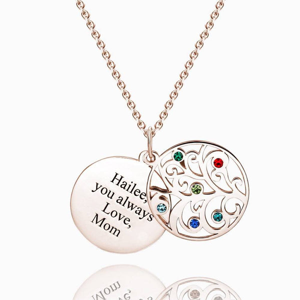 Filigree Family Tree Birthstone Necklace With Engraving Rose Gold Plated Silver