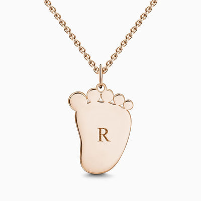 Baby Foot Initial Necklace With Engraving Rose Gold Plated Silver -  Love Name Necklace
