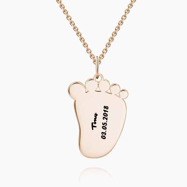 Engraved Baby Feet Necklace Rose Gold Plated Silver