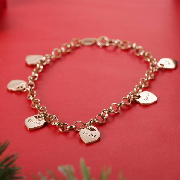 Women's Heart Shape Engraved Tag Bracelet With Engraving Rose Gold Plated