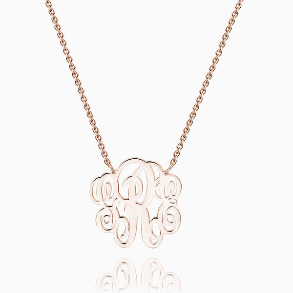 Large Fancy Monogram Necklace Rose Gold Plated Silver
