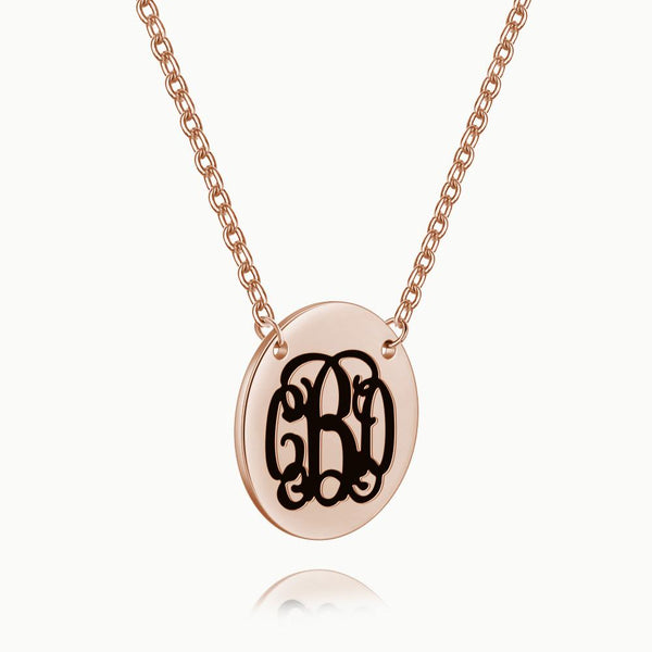 Engraved Monogram Necklace Rose Gold Plated Silver