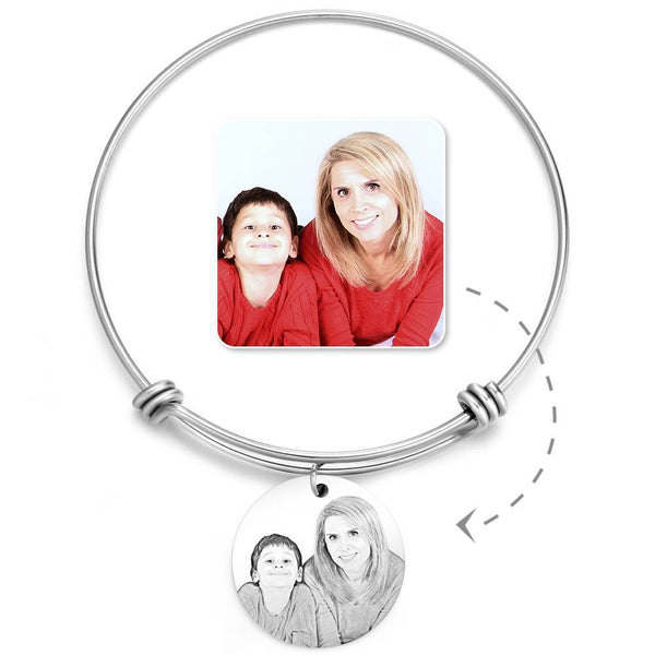 Women's Round Photo Engraved Charm Bangle Stainless Steel For Her