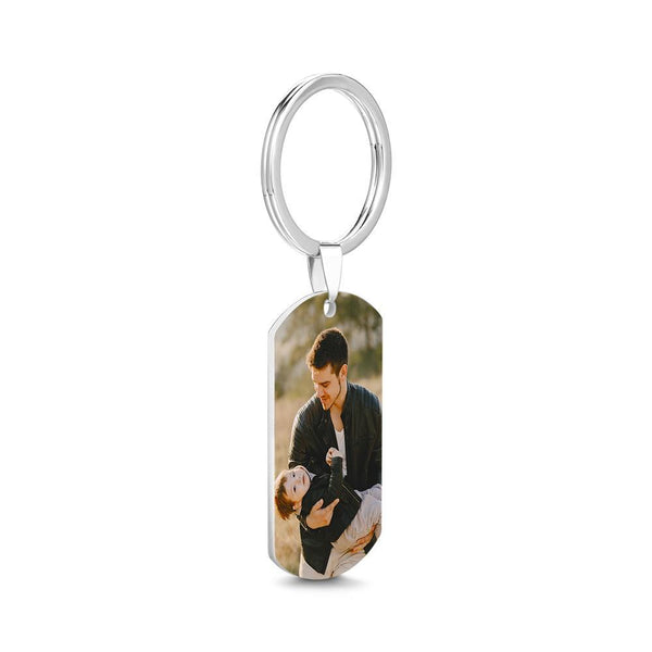 Photo Tag Key Chain With Engraving Stainless Steel