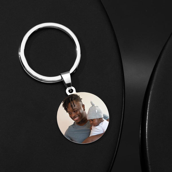 Custom Round Tag Photo Keychain Stainless Steel Dad Gifts