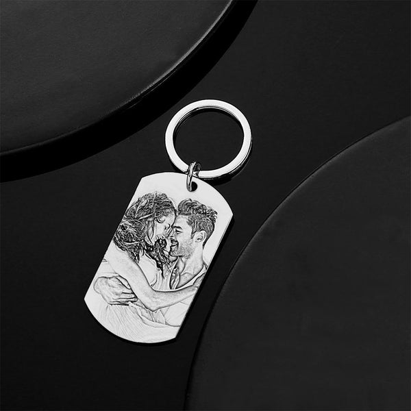 Personalized Engraved Photo Dog Tag Keychain