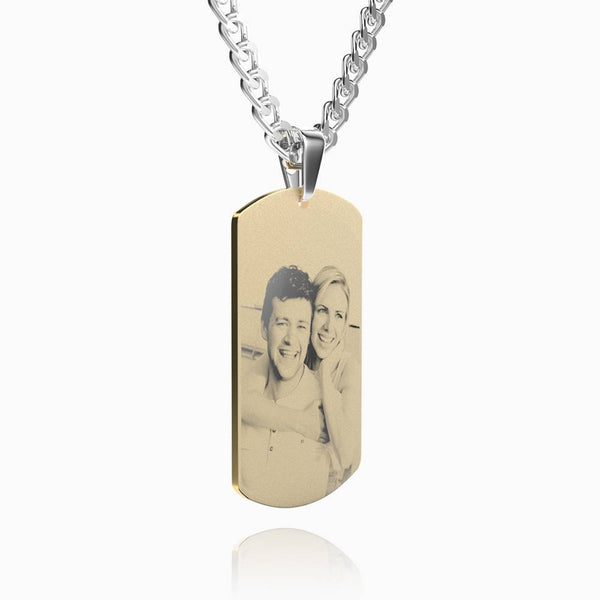 Men's Stainless Steel Photo Dog Tag Engraved Photo Pendant 18k Gold Plated
