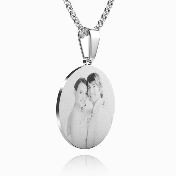 Women's Round Photo Engraved Necklace Stainless Steel