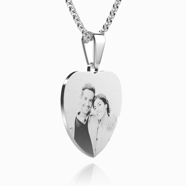 Women's Stainless Steel Photo Engraved Heart Pendant For Her