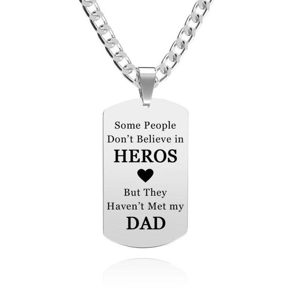 Personalized Photo Engraved Necklace Stainless Steel Gift For Dad