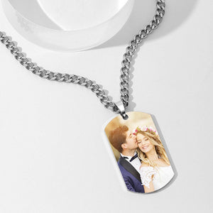Men's Stainless Steel Dog Tag Photo Pendant Grad Gifts For Him