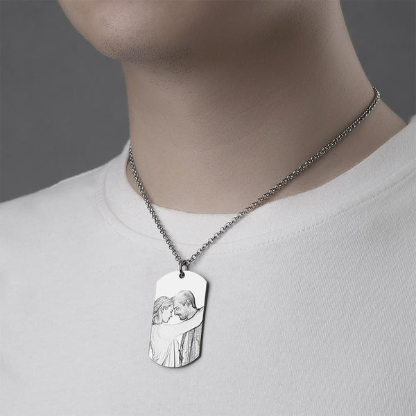 Graduation Gifts 2020 Men's Engraved Stainless Steel Dog Tag Photo Pendant Necklace