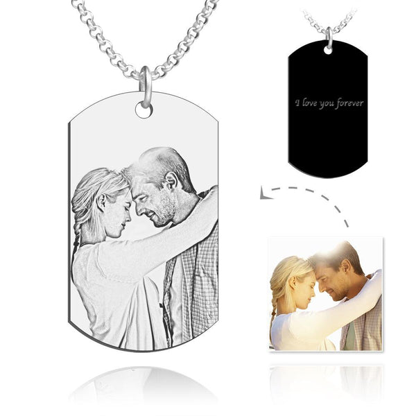 Men's Engraved Stainless Steel Dog Tag Photo Pendant Necklace