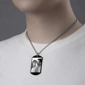 Men's Engraved Stainless Steel Dog Tag Photo Necklace