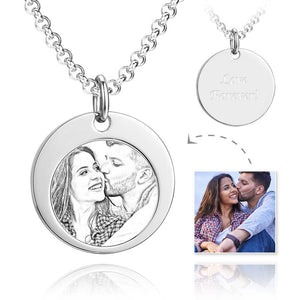 Unisex Round Shape Photo Engraved Tag Necklace with Engraving Stainless Steel