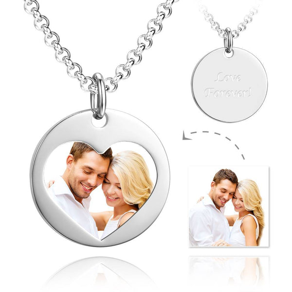 Unisex Heart Shape Photo Engraved Tag Necklace with Engraving Stainless Steel