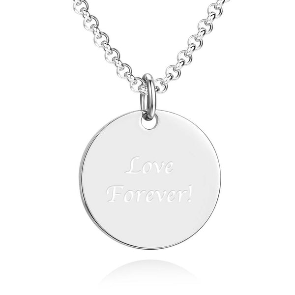 Unisex Photo Engraved Tag Love Necklace with Engraving Stainless Steel