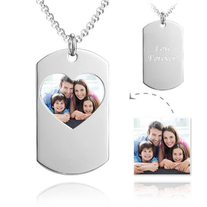 Unisex Photo Engraved Tag Necklace with Engraving Stainless Steel - Colorful