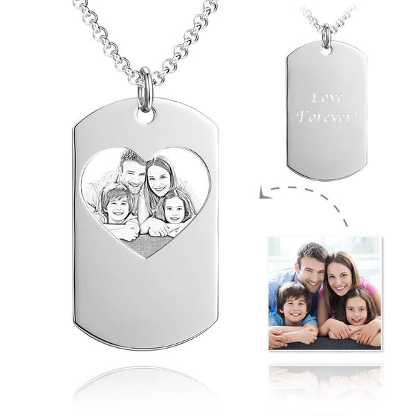 Unisex Photo Engraved Tag Necklace with Engraving Stainless Steel