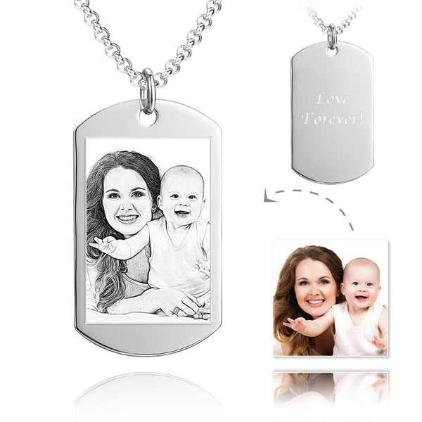 Unisex Photo Engraved Tag Necklace with Engraving Stainless Steel - Silver