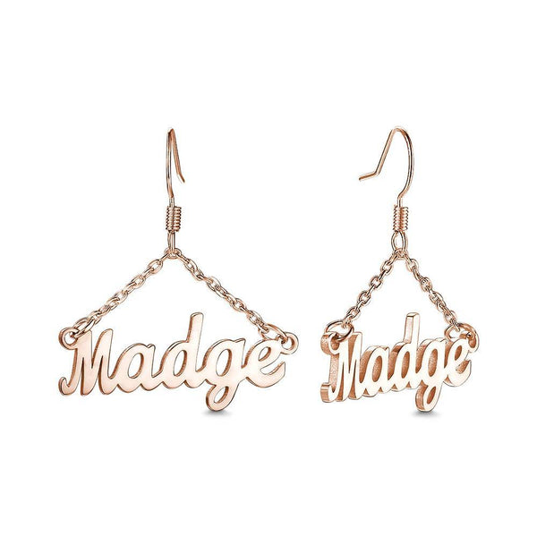 Personalized Triangle Shape Name Earrings Silver Plated