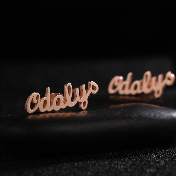 Personalized simple style Name Earrings Rose Gold Plated