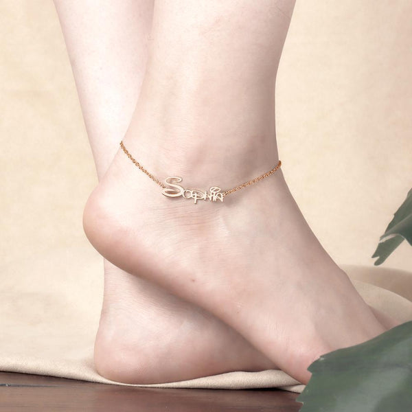 Custom Disney Name Anklet Rose Gold Plated Gift for Friend