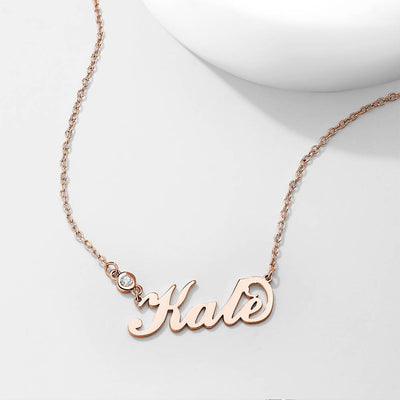 Personalized Birthstone Name Necklace Rose Gold Plated Silver For Her
