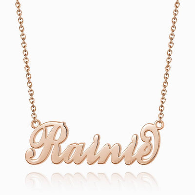 "Personalized Children's ""Carrie"" Style Name Necklace, Classical Style Silver"