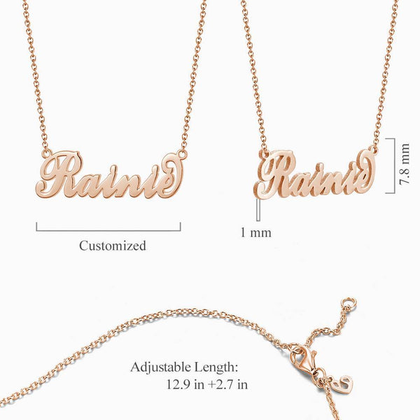 "Custom Name Necklace Children's ""Carrie"" Style, Classical Style Rose Gold Plated - Silver"