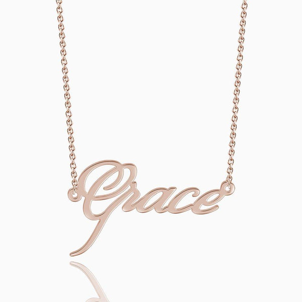Personalized Name Necklace Rose Gold Plated Silver