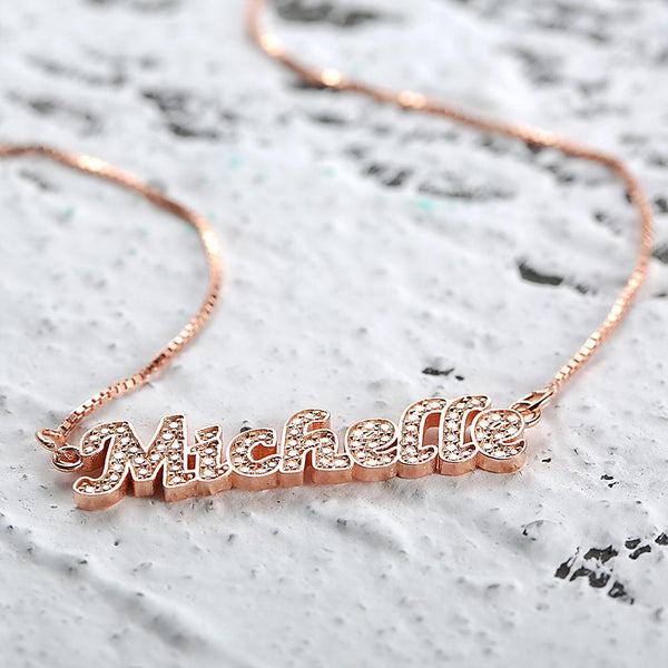Personalized Name Neckalce Shining Zircon Stone Necklace Silver in Rose Gold Plated
