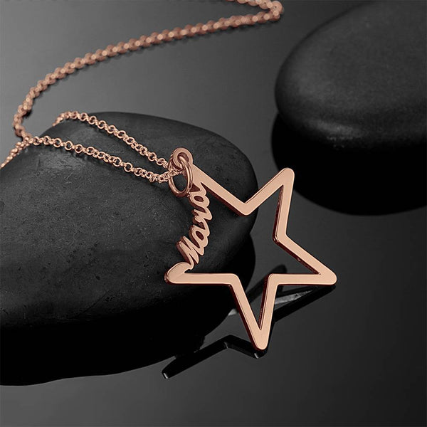 Personality Name Necklace Star Shaped Rose Gold Plated - Silver