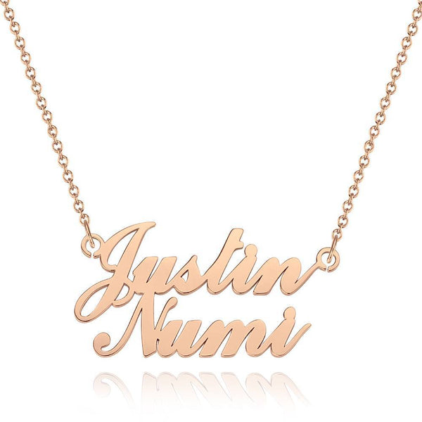 Name Necklace Personality Two Names Classic Style Rose Gold Plated - Silver