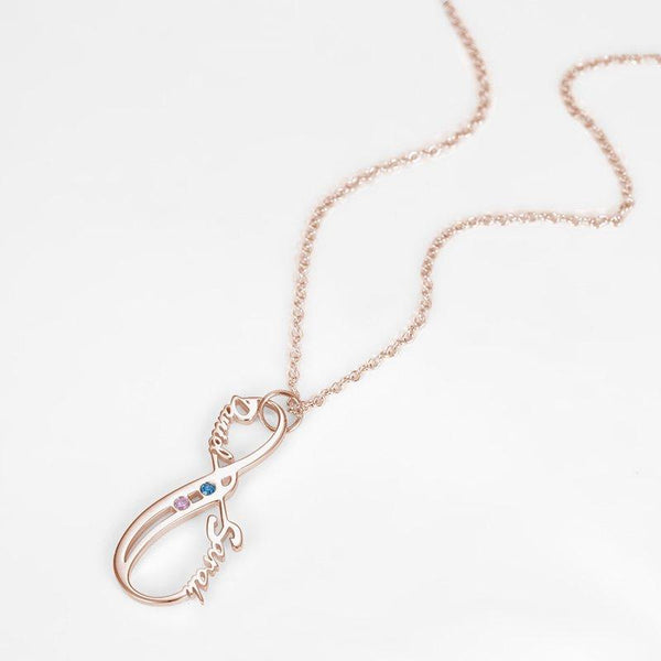 Vertical Infinity Name Necklace With Birthstones Rose Gold Plated Silver