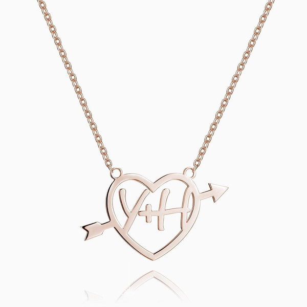 Cupid's Arrow Name Necklace Rose Gold Plated Silver