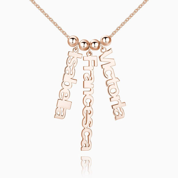 Personalized Vertical 3 Name Necklace Rose Gold Plated Silver