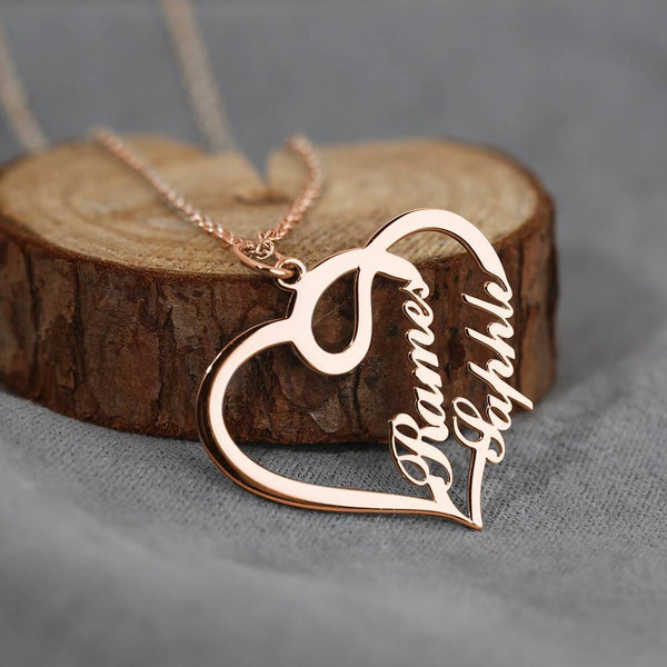 Overlapping Heart Two Name Necklace Rose Gold Plated Silver