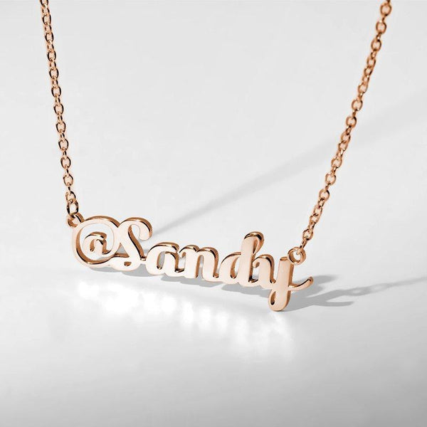 @ Sign Name Necklace Rose Gold Plated Silver -  Love Name Necklace