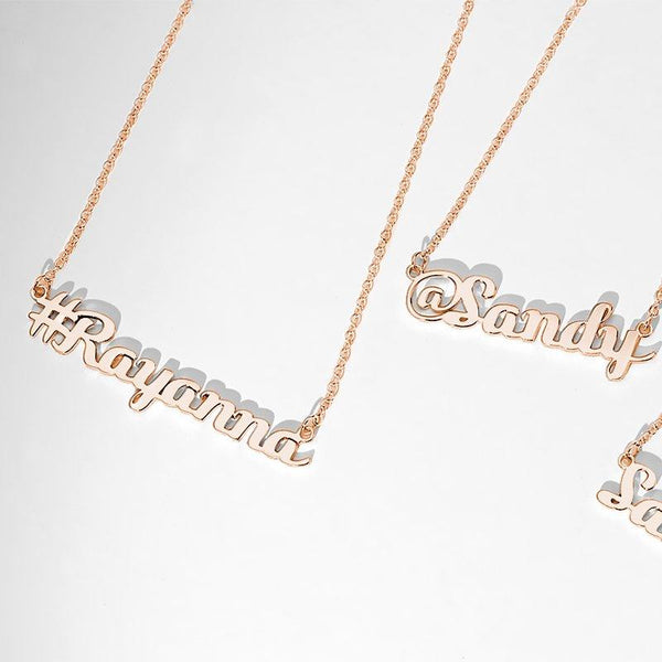Hashtag Name Necklace Rose Gold Plated Silver