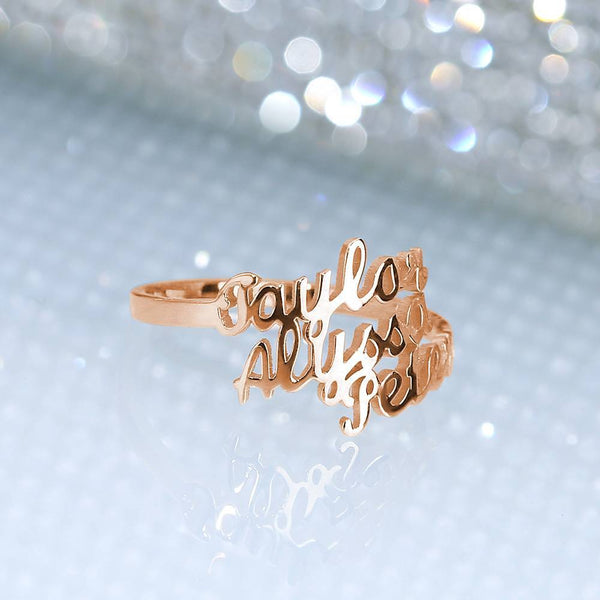 Three Name Ring Rose Gold Plated Silver For Her