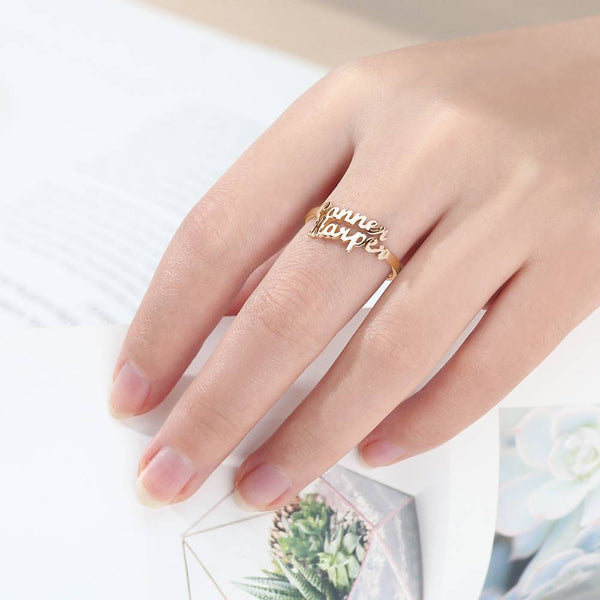 Two Name Ring Rose Gold Plated Silver For Her